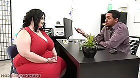 Brunette shows off in the office