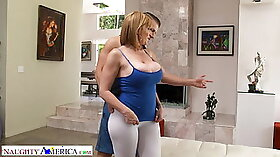Brunette Sara Jay is fucked hard by a trainer