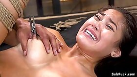 Black haired sweet Asian beauty gets brutally fucked by Lexington Steele