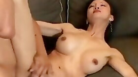 Long hair milf with big fake tits spreads her legs and takes a pounding