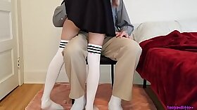 Blonde Schoolgirl Takes A Lesson In The Moving